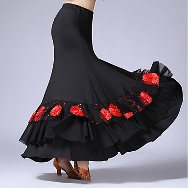 Latin Dance Bottoms Women's Performance Tulle Milk Fiber Ruffles Natural Skirts