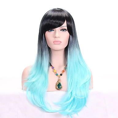 Synthetic Wig Wavy Blue With Bangs Black   Blue Synthetic Hair Women s  Ombre Hair   Dark Roots Blue Wig Long Capless  06261492 5ab79cb125