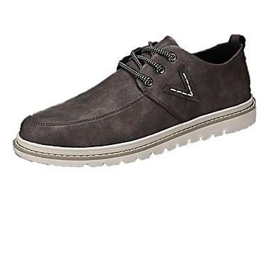 Férfi cipő PU Tavasz Ősz Kényelmes Félcipők Fűző mert Hétköznapi Fekete Kávé Khakizöld