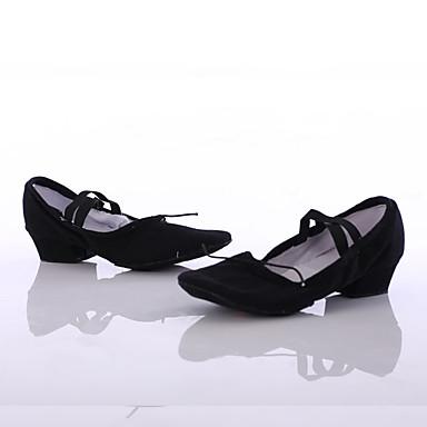 Női Jazz cipők Vászon Sportcipő Személyre szabott sarok Személyre szabható Dance Shoes Fekete / Otthoni