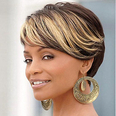 Synthetic Wig Straight Synthetic Hair Brown Wig Women's Short Capless Black / Strawberry Blonde