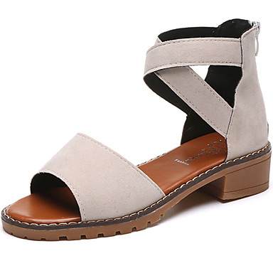 Women's Suede Summer Comfort Sandals Low Heel Open Toe Zipper Black / Beige / Gray