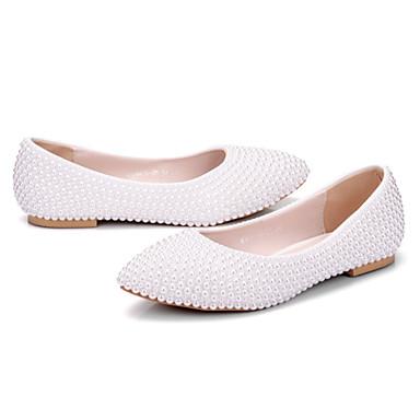 Blanc de Nouveauté Automne Confort Printemps 06241248 Chaussures pointu Polyuréthane mariage Femme Perle Plat Talon Chaussures Bout Mariage 60T4f