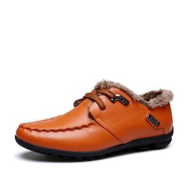 Férfi cipő Bőr Tél Ősz Mokaszin Kényelmes Félcipők Szegecs mert Esküvő Hétköznapi Hivatal és karrier Szabadtéri Party és Estélyi Fekete