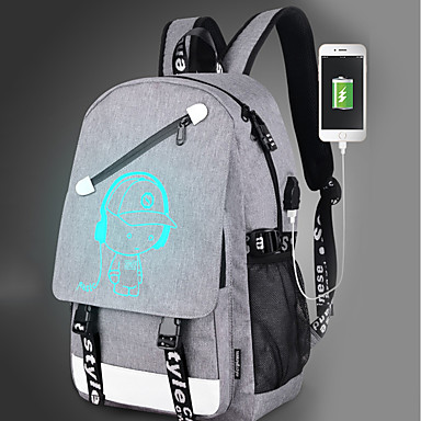 cheap Backpacks-Bags Canvas Backpack Zipper Character Black / Gray