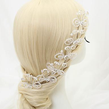 Drágakő és kristály / Tüll / Gyöngyutánzat Sisak / Hair Pin val vel Kristály / Toll 1 Esküvő / Különleges alkalom / Születésnap Sisak
