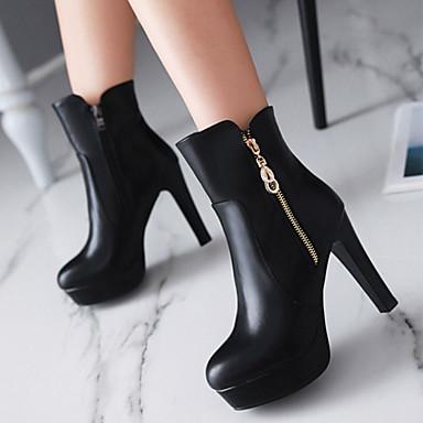 la Botte Bottier Nouveauté Bout Bottine 06240657 Chaussures Polyuréthane Bottes Talon Mode Demi Bottes Automne rond à Femme Confort Hiver 8TR7q7