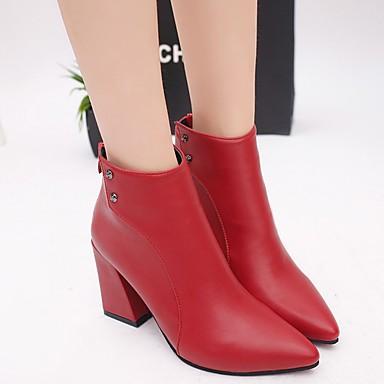 Claro Botas Cuadrado Puntiagudo aire Al Mujer libre Botas Rojo para Tacón Zapatos de Cuero Negro Marrón de Dedo Napa Otoño 06257454 Combate wwRvpq8