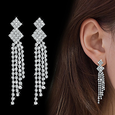 Women's AAA Cubic Zirconia Drop Earrings - Cubic Zirconia Drop Fashion, Elegant Silver For Wedding Party