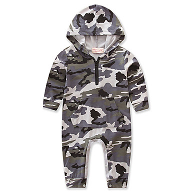 Baby Boys' Weekend Camouflage One-Pieces, Cotton Polyester Spring/Fall Summer Dresswear Long Sleeves Gray