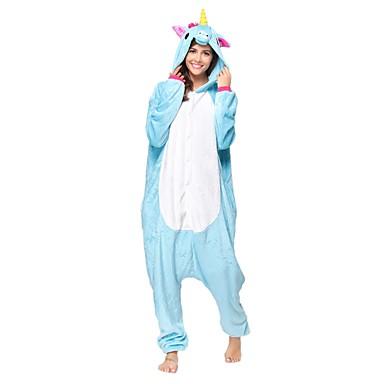 Kigurumi pizsama Unicorn Onesie pizsama Jelmez Flanel Báránybunda Kék Cosplay mert Allati Hálóruházat Rajzfilm Halloween Fesztivál /