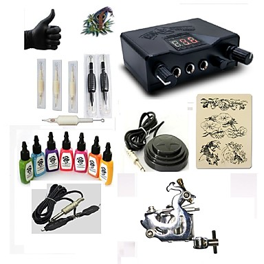 Tattoo Machine Starter Kit - 1 pcs Tattoo Machines with 7 x 15 ml tattoo inks, Professional LED power supply Case Included 1 steel