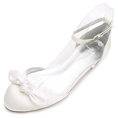 Női Cipő Szatén Tavasz Nyár Kényelmes D'Orsay és kétrészes Esküvői cipők Lapos Kerek orrú Strasszkő Csokor Szatén virág Glitter