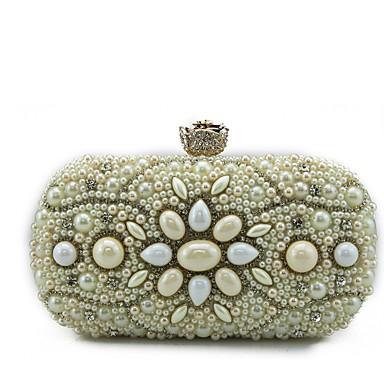 Női Táskák speciális anyaga Vállon átvetős táska Gyöngydíszítés mert Party / Bevásárlás Arany / Fekete / Bézs