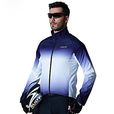 SANTIC Men's Cycling Jacket Bike Top Windproof Geometric Blue Bike Wear