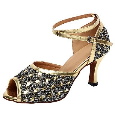 Női Latin cipők Csillogó flitter Szandál Személyre szabott sarok Dance Shoes Arany / Ezüst / Otthoni