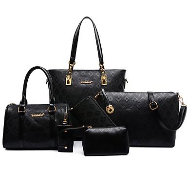 Women's Bags PU Bag Set Zipper / Flower Gold / White / Black