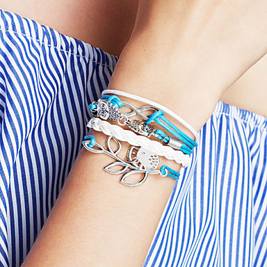 Women's Leather Multi Layer Leaf Infinity Charm Bracelet Leather Bracelet Wrap Bracelet - Personalized Basic Friendship Multi Layer