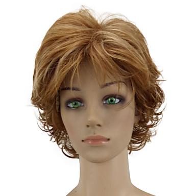 Szintetikus parókák Göndör Réteges frizura Szintetikus haj Balayage haj Barna Paróka Női Rövid Sapka nélküli Aranybarna