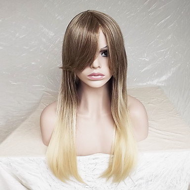 Synthetic Wig Straight Blonde Layered Haircut Synthetic Hair Ombre Hair / Highlighted / Balayage Hair Blonde Wig Women's Long Capless