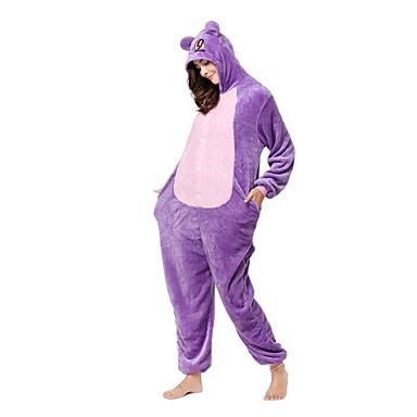 Kigurumi pizsama Majom Cat Onesie pizsama Jelmez Flanel Báránybunda Bíbor Cosplay mert Allati Hálóruházat Rajzfilm Halloween Fesztivál /