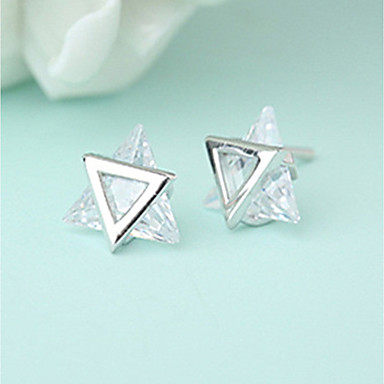 Women's AAA Cubic Zirconia Stud Earrings - Stainless Steel, Cubic Zirconia Star of David Personalized, Fashion Silver For Gift Casual