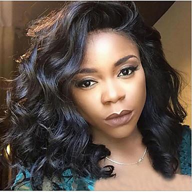 Szintetikus parókák Hullámos Szintetikus haj Fekete Paróka Női Közepes Sapka nélküli Fekete