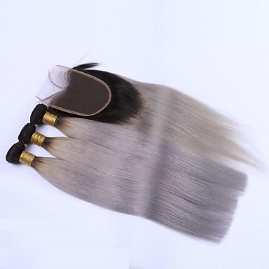 Brazil haj Egyenes Hair Vetülék, zárral Emberi haj sző Fekete / szürke Human Hair Extensions
