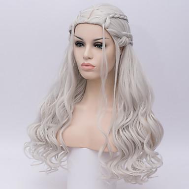 Szintetikus parókák Mély hullám Sűrűség Sapka nélküli Női Fehér Halloween paróka Hosszú Szintetikus haj