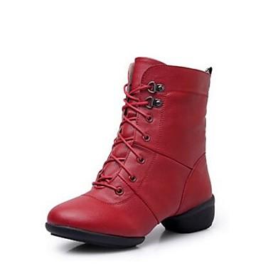 Női Tánccipők Bőrutánzat Csizmák Alacsony Dance Shoes Fekete / Piros