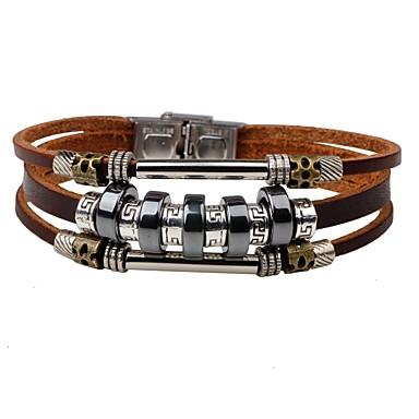 voordelige Herensieraden-Heren Lederen armbanden Gepersonaliseerde Modieus Leder Armband sieraden Zwart / Bruin Voor Dagelijks Straat