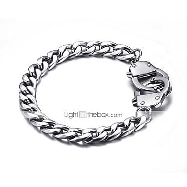 voordelige Herensieraden-Heren Dames Armbanden met ketting en sluiting Punk Rock Titanium Staal Armband sieraden Zilver Voor Feest Lahja
