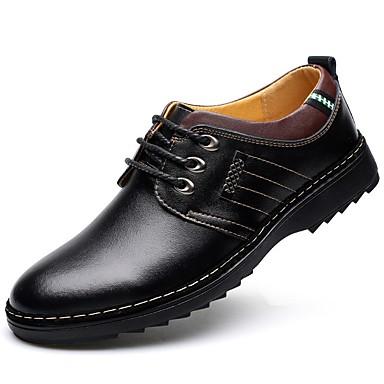 Férfi Cipő Bőr Ősz / Tél Kényelmes / Formai cipő Félcipők Lapos Kerek orrú Tépőzár Fekete / Barna / Kék