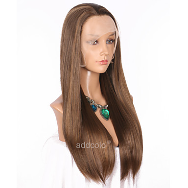 Synthetic Lace Front Wig Straight Synthetic Hair Highlighted / Balayage Hair / Natural Hairline Brown Wig Women's Long Lace Front