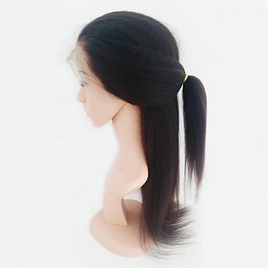 Emberi haj Csipke Paróka Brazil haj Göndör egyenes Tincselve 130% Sűrűség 100% kézi csomózású Afro-amerikai paróka Közepes Női Emberi