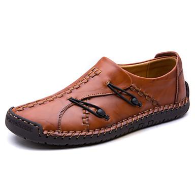 Men's Moccasin Cowhide Fall / Winter Comfort Loafers & Slip-Ons Black / Brown / Light Brown