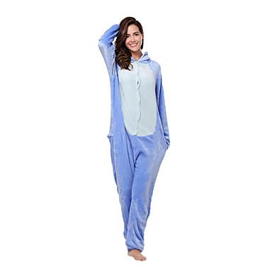 Adults' Kigurumi Pajamas Monster Blue Monster Onesie Pajamas Flannel Toison Blue Cosplay For Men and Women Animal Sleepwear Cartoon Festival / Holiday Costumes
