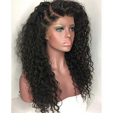 Emberi haj Csipke Paróka Brazil haj Kinky Curly 130% Sűrűség 100% kézi csomózású Afro-amerikai paróka Hosszú Női Emberi hajból készült