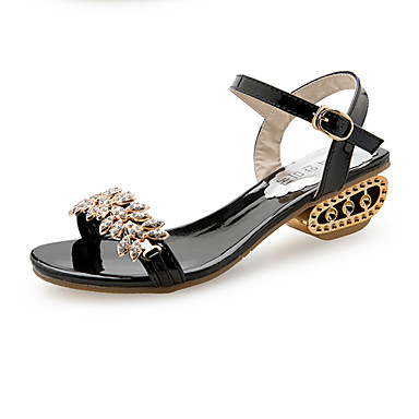 ee65abb9c7a4a Women s PU(Polyurethane) Spring   Summer Comfort Sandals Chunky Heel Open  Toe Rhinestone   Imitation Pearl   Buckle Gold   Black   Silver