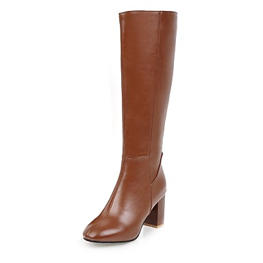 Women's Leatherette Fall / Winter Riding Boots / Fashion Boots Boots Chunky Heel Square Toe Knee High Boots Zipper Black / Beige / Brown / Party & Evening