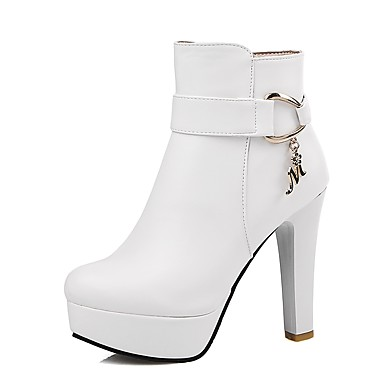 Women's Shoes Leatherette Winter Fashion Boots / Bootie Boots Chunky Heel Round Toe Booties / Ankle Boots Zipper Black / Beige / Pink