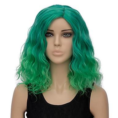 Szintetikus parókák Hullám Szintetikus haj Ombre haj Zöld Paróka Női Rövid Sapka nélküli