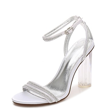Women's Satin Spring / Summer T-Strap / Basic Pump / Ankle Strap Wedding Shoes Chunky Heel / Translucent Heel / Crystal Heel Round Toe Rhinestone / Sparkling Glitter / Lace-up Blue / Champagne / Ivory