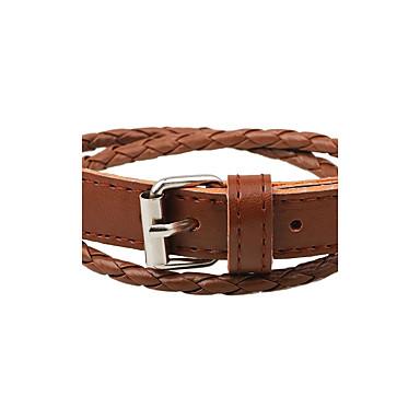 abordables Bracelet-Bracelets en cuir Homme Femme Cuir Bouton Bracelet Bijoux Blanc Noir Café Forme de Cercle pour Décontracté Sortie