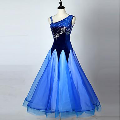 Ballroom Dance Dresses Women's Performance Spandex Organza Crystals/Rhinestones Sleeveless Dress