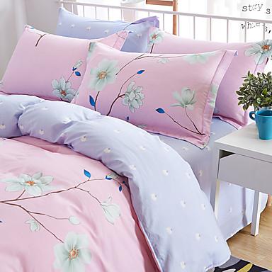 Floral/Botanical 4 Piece Cotton Cotton 4pcs (1 Duvet Cover, 1 Flat Sheet, 2 Shams)