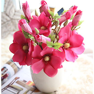 Artificial Flowers 1 Branch European Magnolia Tabletop Flower