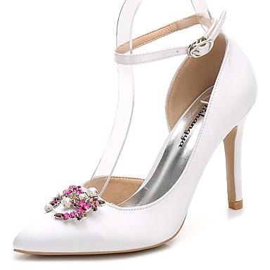 Női Cipő Selyem Tavasz Ősz Boka pántos Magasított talpú Esküvői cipők Tűsarok Erősített lábujj Strasszkő Kristály Glitter mert Esküvő