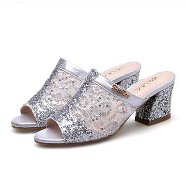 PU Innovador Punta Zapatos Poroso Dedo 06222333 Lentejuela abierta Cuadrado Dorado Sandalias Mujer Plata Tacón Verano Primavera redondo H5Iwvfq