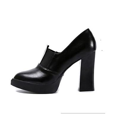Női Cipő PU Ősz Kényelmes Magassarkúak Vaskosabb sarok Erősített lábujj mert Ruha Fekete Bézs